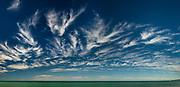 High Mare's tails cirrus cloud, panorama of Pacific Ocean near Kaikoura, Canterbury, New Zealand