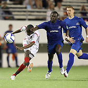 Orlando City Lions Midfielder Kevin Molino (18) shoots during a United Soccer League Pro soccer match between the Pittsburgh Riverhounds and the Orlando City Lions at the Florida Citrus Bowl on May 14, 2011 in Orlando, Florida. Orlando won the game 1-0. (AP Photo/Alex Menendez)