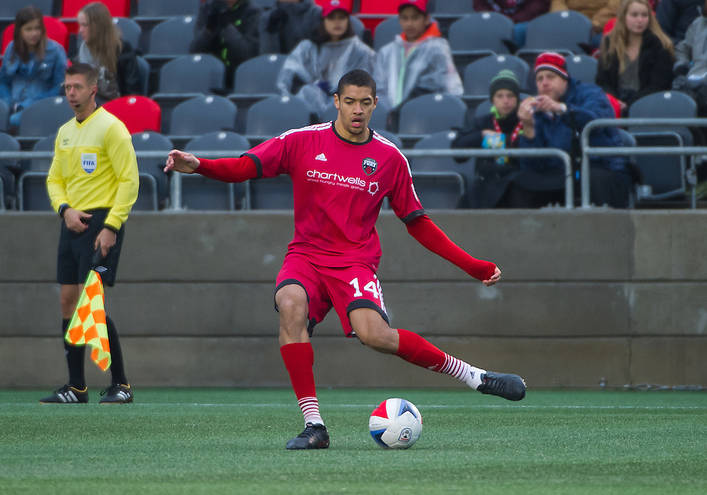 Ottawa Fury FC defender Onua Obasi (#14) during the NASL match between the Ottawa Fury FC and the Fort Lauderdale Strikers at TD Place Stadium in Ottawa, ON. Canada on Oct. 29, 2016.<br /> <br /> PHOTO: Steve Kingsman/Freestyle Photography