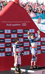 13.02.2017, St. Moritz, SUI, FIS Weltmeisterschaften Ski Alpin, St. Moritz 2017, alpine Kombination, Herren, Flower Zeremonie, im Bild v.l. Marcel Hirscher (AUT, Herren Alpine Kombination Silbermedaille), Luca Aerni (SUI, Herren Alpine Kombination Weltmeister und Goldmedaille) // f.l. men's Alpine Combined Silver medalist Marcel Hirscher of Austria men's Alpine Combined world Champion and Gold medalist Luca Aerni of Switzerland during the Flowers ceremony for the men's Alpine combination of the FIS Ski World Championships 2017. St. Moritz, Switzerland on 2017/02/13. EXPA Pictures © 2017, PhotoCredit: EXPA/ Johann Groder