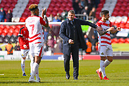 Grant McCann of Doncaster Rovers (Manager) at the full time whistle during the EFL Sky Bet League 1 match between Doncaster Rovers and Plymouth Argyle at the Keepmoat Stadium, Doncaster, England on 13 April 2019.