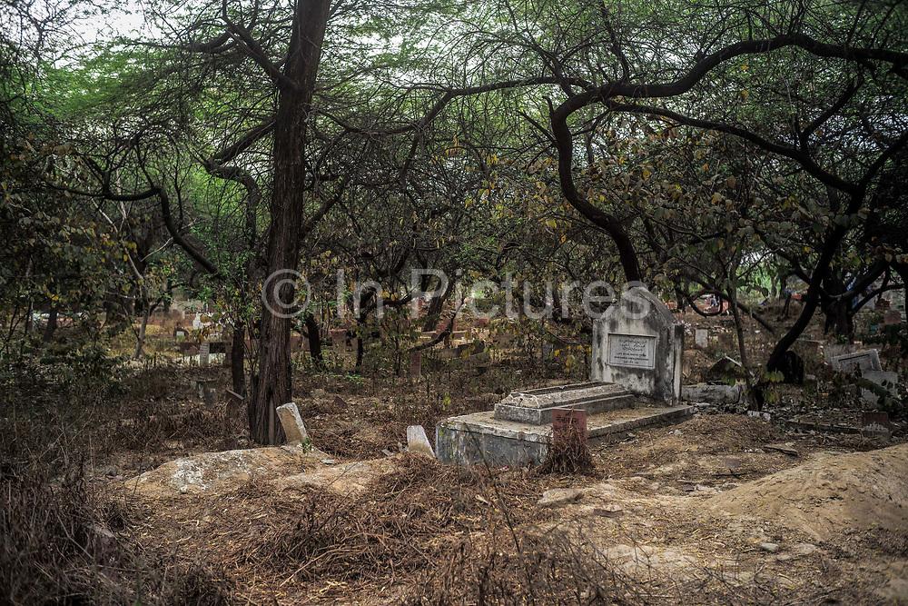 A grave in the Panj Peeran Kabristan, a Muslim graveyard in Nizamuddin, New Delhi, India