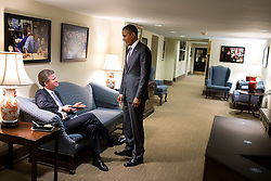President Barack Obama talks with Shaun Donovan, Director of the Office of Management and Budget, in the West Wing of the White House, March 3, 2015. (Official White House Photo by Pete Souza)<br /> <br /> This official White House photograph is being made available only for publication by news organizations and/or for personal use printing by the subject(s) of the photograph. The photograph may not be manipulated in any way and may not be used in commercial or political materials, advertisements, emails, products, promotions that in any way suggests approval or endorsement of the President, the First Family, or the White House.