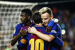 May 9, 2018 - Barcelona, Catalonia, Spain - 11 Ousmane Dembele from France of FC Barcelona celebrating his goal with 04 Ivan Rakitic from Croatia of FC Barcelona and 10 Leo Messi from Argentina of FC Barcelona during the  La Liga football match between FC Barcelona v Villarreal CF at Camp Nou Stadium in Spain on May 9 of 2018. (Credit Image: © Xavier Bonilla/NurPhoto via ZUMA Press)