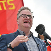 London, UK. 1st May, 2019.  SpeakerTim Dawson at The annual May Day rally in Trafalgar Square on May 1st, 2019 in London.