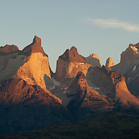 Sunrise lights the Horns  of Paine, Torres del Paine National Park, Chile.