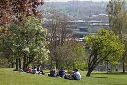 © Licensed to London News Pictures. 20/04/2015. Bristol, Avon, UK. People out enjoying the sunny weather and view from Brandon Hill in Bristol today, 20th April 2015. The South West of England is set for more warm temperatures and plenty of sunshine this week. Photo credit : Rob Arnold/LNP