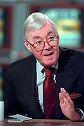 U.S. Senator Daniel Patrick Moynihan discusses the possible Senate trial of President Clinton following his impeachment by the House during NBC's Meet the Press December 27, 1998 in Washington, DC.