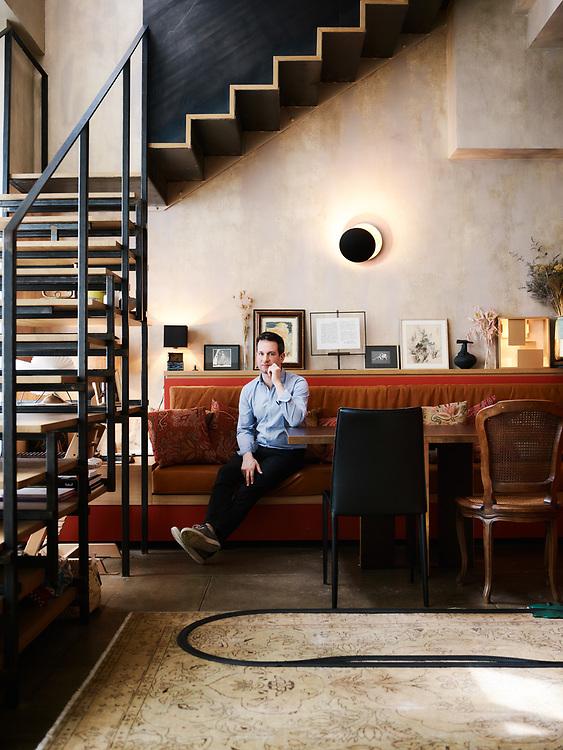 Pianist Bertrand Chamayou, posing at home. Paris, France. June 18, 2019.<br /> Le pianiste Bertrand Chamayou, chez lui. Paris, France. June 18, 2019.