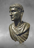 """Roman Bronze sculpture bust known as 'Sylla"""" from the tablinium of the Villa of the Papyri in Herculaneum, Museum of Archaeology, Italy, grey art background ..<br /> <br /> If you prefer to buy from our ALAMY STOCK LIBRARY page at https://www.alamy.com/portfolio/paul-williams-funkystock/greco-roman-sculptures.html . Type -    Naples    - into LOWER SEARCH WITHIN GALLERY box - Refine search by adding a subject, place, background colour, etc.<br /> <br /> Visit our ROMAN WORLD PHOTO COLLECTIONS for more photos to download or buy as wall art prints https://funkystock.photoshelter.com/gallery-collection/The-Romans-Art-Artefacts-Antiquities-Historic-Sites-Pictures-Images/C0000r2uLJJo9_s0"""