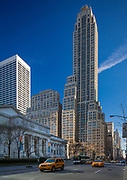 Rockefeller Center and New York Public Library along 5th Avenue in Manhattan, New York