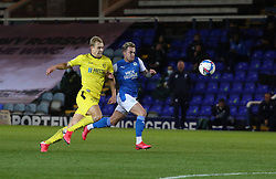 Sammie Szmodics of Peterborough United in action with Sam Hughes of Burton Albion - Mandatory by-line: Joe Dent/JMP - 27/10/2020 - FOOTBALL - Weston Homes Stadium - Peterborough, England - Peterborough United v Burton Albion - Sky Bet League One