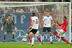 02.09.2011, Veltins Arena, Gelsenkrichen, GER, UEFA EURO 2012 Qualifikation, Deutschland (GER) vs Oesterreich (AUT), im Bild Mesut Özil / Oezil (GER, Real Madrid) legt vor zum 1:0 durch Miroslav Klose (GER, Lazio Rom) // during the UEFA Euro 2012 qualifying round Germany vs Austria  at Veltins Arena, Gelsenkirchen 2010-09-02 EXPA Pictures © 2011, PhotoCredit: EXPA/ nph/  Mueller       ****** out of GER / CRO  / BEL ******
