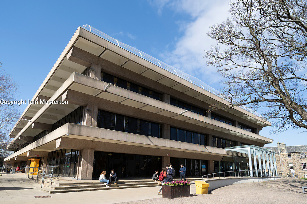 Exterior of University Library at St Andrews University in St Andrews, Fife, Scotland, UK