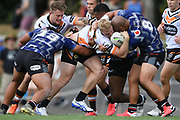 Wests Tigers Oliver Clark is tackled in the NRL Trial, Vodafone Warriors v Wests Tigers, Rotorua Stadium, Rotorua, Sunday, March 01, 2020. Copyright photo: Kerry Marshall / www.photosport.nz