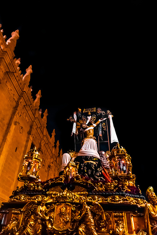 A paso (float) of the crucifixion of Jesus Christ, Holy Week (Semana Santa), Seville, Andalusia, Spain.
