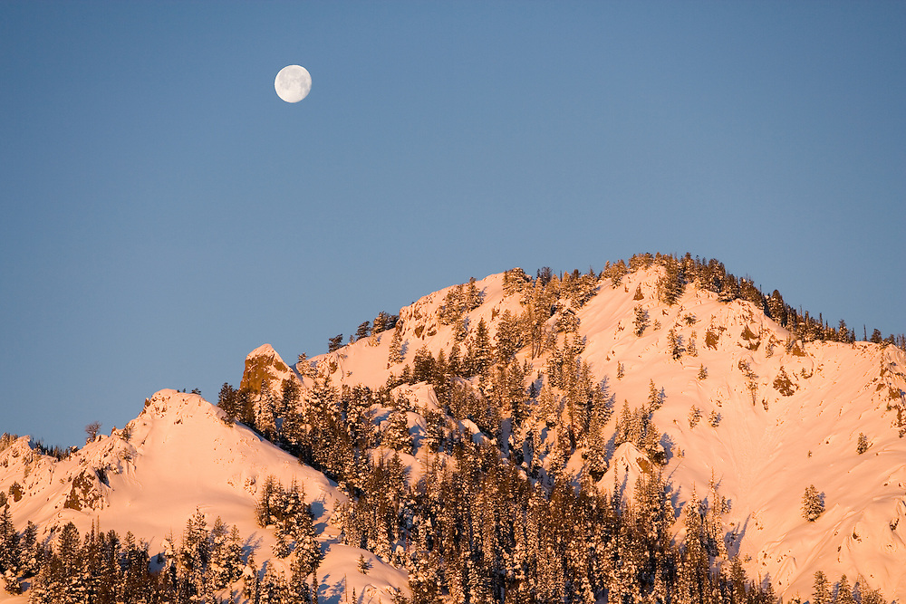 Moonrise over an un-named peak in the Smokey Mountains in Central Idaho near Sun Valley. Licensing and Open Edition Prints.