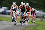 2010 GE Parc Bryn Bach triathlon, the final round of the 2010 British Triathlon super series championship held in Tredegar, South Wales on Sunday 19th Sept 2010. action from the elite women's race. Helen Jenkins of Wales (c) leads Jodie Stimpson (l) in the bike section