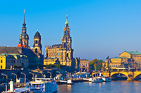 Hausmann Tower and the Hofkirche (Dresden Cathedral) along the Elbe River, Dresden, Saxony, Germany