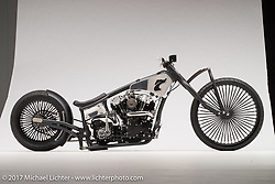 """""""Sandra Lee"""", a knucklehead built by Jake Cutler of Barnstorm Cycles in Spencer, MA. Photographed by Michael Lichter in Sturgis, SD on August 3 2017. ©2017 Michael Lichter."""