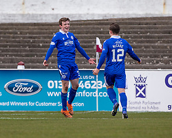 06MAR21 Queen of the South's James Maxwell (3) cele scoring their second goal. half time : Arbroath 2 v 3 Queen of the South, Scottish Championship played 6/3/2021 at Arbroath's home ground, Gayfield Park.