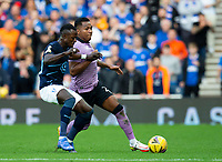 Football - 2021 / 20022 UEFA Champions League - Qualifying Thiurd Round - Second Leg - Glasgow Rangers vs Malmo FF - Ibrox stadium<br /> <br /> Alfredo Morelos of Rangers vies with Bonke Innocent of Malmo FF<br /> <br /> Credit: COLORSPORT/Bruce White