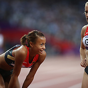 Tatjana Pinto, Germany, left, and team mate Verena Sailer  after the teams qualification for the final during the Women's 4 X 100m Heats at the Olympic Stadium, Olympic Park, during the London 2012 Olympic games. London, UK. 9th August 2012. Photo Tim Clayton
