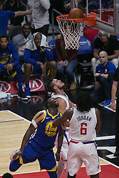 October 30, 2017 - Los Angeles, California, U.S - Draymond Green #23 of the Golden State Warriors scores between two defenders during their NBA game with the Los Angeles Clippers on Monday October 30, 2017 at the Staples Center in Los Angeles, California. Clippers v Warriors. Clippers lose to Warriors, 141-113. (Credit Image: © Prensa Internacional via ZUMA Wire)