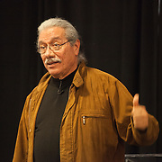 Actor Edward James Olmos at University of Missouri - Kansas City delivering a lecture on Cesar Chavez, April 15, 2014.