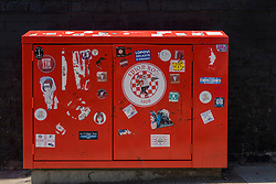 LIVERPOOL, ENGLAND - Monday, June 1, 2020: Stickers on a street cabinet painted red near a mural of Liverpool FC player Trent Alexander-Arnold near Anfield. The mural was commissioned by The Anfield Wrap. (Pic by David Rawcliffe/Propaganda)
