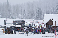 Heavy snowfall greets skiers at Chair 6 at Whitefish Mountain Resort in Montana