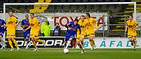 Fotball<br /> 10 April 2011<br /> Adeccoligaen<br /> Bodø/Glimt - Sandefjord<br /> Erik Lamøy , sandefjord<br /> Thomas Rønning og Michael Haukås og Per Verner Rønning og Karl Morten Eek , Bodø/Glimt<br /> Foto : Tor-Erik Eidissen , Digitalsport