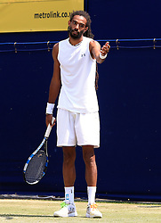Dustin Brown of Germany questions a line call - Mandatory by-line: Matt McNulty/JMP - 05/06/2016 - TENNIS - Northern Tennis Club - Manchester, United Kingdom - AEGON Manchester Trophy