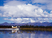 Ron Davis taking off in his Cessna 185 from a shallow lake west of Telaquana Lake, Lake Clark National Preserve, Alaska.