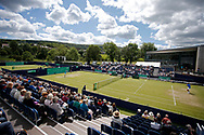 Marcel Granollers of Spain waits the return of serve during the Men's Singles Quarter Final at the Fuzion 100 Ilkley Lawn Tennis Trophy Tournament held at Ilkley Lawn Tennis and Squad Club, Ilkley, United Kingdom on 19 June 2019.