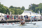 """Henley on Thames, United Kingdom, 3rd July 2018, Sunday,  """"Henley Royal Regatta"""",  Double Sculls Challenge Cup , Finalists, Bow Angus GROOM, Stroke Jack BEAUMONT GBR M2X, Leander Club, power away from  the end of the Island, View, Henley Reach, River Thames, Thames Valley, England, UK."""