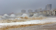 TAIPEI, CHINA - SEPTEMBER 28: (CHINA OUT, TAIWAN OUT) <br /> <br /> Strong waves brought by typhoon Dujuan hit breakwater on September 29, 2015 in Quanzhou, Fujian Province of China. Typhoon Dujuan made landfall in the coastal city of Putian in Fujian province on Tuesday morning.<br /> ©Exclusivepix Media