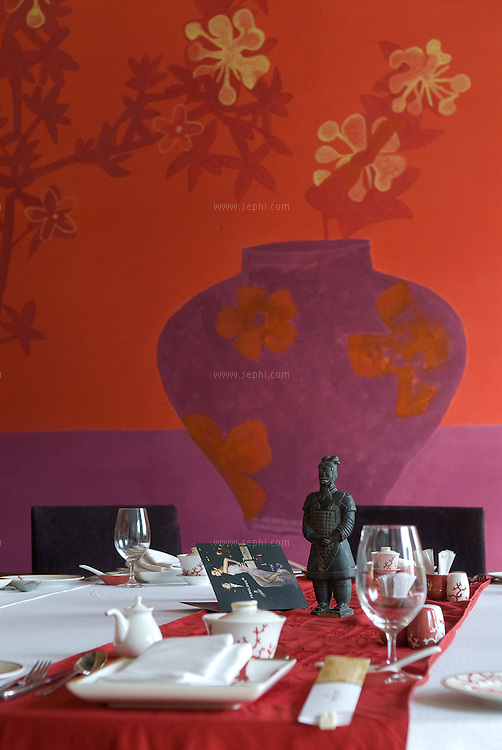 The private dining room at the '19 Oriental Avenue' restaurant complex at the Shangri-La hotel in New Delhi.