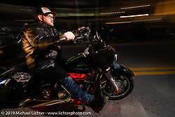 Industry party at Bill Dodge's Blings Cycles shop during Daytona Bike Week. Daytona Beach, FL. USA. Wednesday March 14, 2018. Photography ©2018 Michael Lichter.