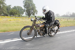 Norm Nelson riding his 1911 single-cylinder, single-speed, belt drive Class-1 Reading Standard motorcycle during the Motorcycle Cannonball Race of the Century. Stage-8 from Wichita, KS to Dodge City, KS. USA. Saturday September 17, 2016. Photography ©2016 Michael Lichter.