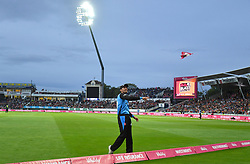 Worcestershire Rapids' Tom Fell throws a paper aeroplane into the crowd during the Vitality T20 Blast Final on Finals Day at Edgbaston, Birmingham.