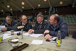 Jury, Stefan De Smet, Herman Bode, Herman Van den Broeck, Topm Heylen<br /> BWP Hengsten keuring Koningshooikt 2015<br /> © Hippo Foto - Dirk Caremans<br /> 23/01/16