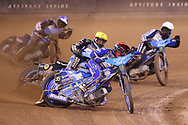 Bartosz Zmarzlik in front during the 2019 Adrian Flux British FIM Speedway Grand Prix at the Principality Stadium, Cardiff, Wales on 21 September 2019.