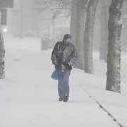 Snow and winter weather in Musselburgh, east Lothian,Scotland<br />