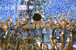 Sep 20, 2017; Kansas City, KS, USA; Sporting Kansas City team celebrates their Open Cup win over the New York Red Bulls at Children's Mercy Park. Mandatory Credit: Denny Medley-USA TODAY Sports