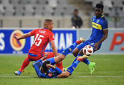 Cape Town-180804 Supersport striker Fagrie Lakay  challenged by Cape Town City Kousasi Kouadja and Taariq Fielies  in the first game of the 2018/2019 season at Cape Town Stadium.photograph:Phando Jikelo/African News Agency/ANAr