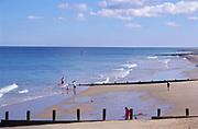 AMFXF7 Cromer sandy beach Norfolk England