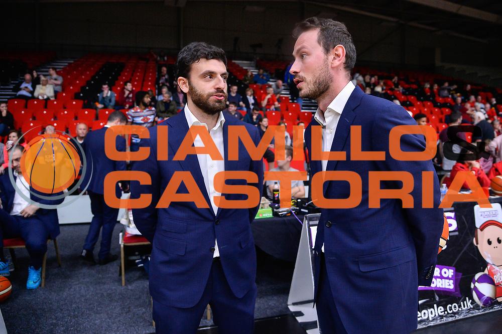 Edoardo Casalone, Giorgio Gerosa<br /> Leicester Riders BC - Banco di Sardegna Dinamo Sassari<br /> Fiba Europe Cup Gruppo H 2018-2019<br /> Leicester, 17/10/2018<br /> Foto L.Canu / Ciamillo-Castoria