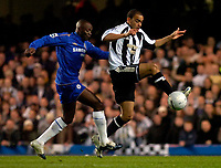 Photo: Alan Crowhurst.<br />Chelsea v Newcastle United. The FA Cup. 22/03/2006. Claude Makelele (L) with Kieron Dyer of Newcastle.