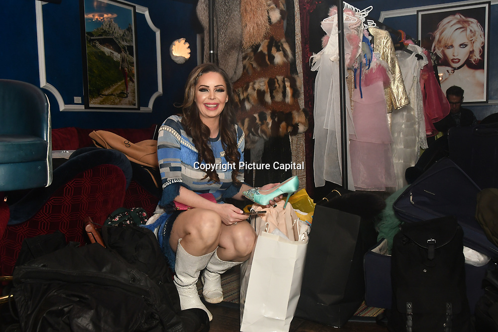 Designer Nina Naustdal herself perparing (backstage) catwalk show s/s 2019/2020 collection by The London School of Beauty & Make-up at Bagatelle on 26 Feb 2019, London, UK.